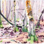 Forêts - Olivier Morel, Forêt aq 21, aquarelle/papier, 13 x 16,5 cm, 2015