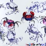 1001 nuits, Olivier Morel - Crabes bleus, acrylique/toile, 130 x 195 cm, 2012