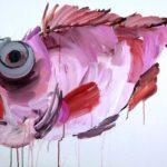 1001 nuits, Olivier Morel - Poisson rouge, acrylique/toile, 73 x 100 cm, 2012