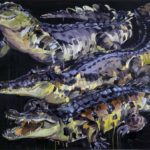 1001 nuits, Olivier Morel - Crocodiles, acrylique/toile, 150 x 210 cm, 2013