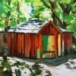 Nouveau monde, Olivier Morel - La maison dans la forêt, acrylique/toile, 130 x 162 cm, 2014
