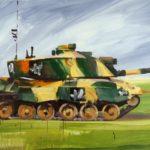 Nouveau monde, Olivier Morel - Char 1, acrylique/toile, 114 x 195 cm, 2015
