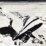 Nouveau monde, Olivier Morel - La conquête spatiale, pointe sèche/cuivre, 25 x 33 cm, 2015