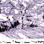 Forêts - Olivier Morel, Forêt nrv 2, acrylique/papier, 25 x 32 cm, 2018