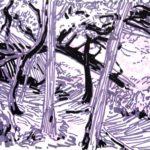 Forêts - Olivier Morel, Forêt nrv 3, acrylique/papier, 25 x 32 cm, 2018