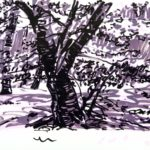 Forêts - Olivier Morel, Forêt nrv 4, acrylique/papier, 25 x 32 cm, 2018