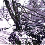 Forêts - Olivier Morel, Forêt nrv 6, acrylique/papier, 25 x 32 cm, 2018