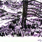 Forêts - Olivier Morel, Forêt nrv 7, acrylique/papier, 25 x 32 cm, 2018