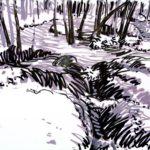 Forêts - Olivier Morel, Forêt nrv 8, acrylique/papier, 25 x 32 cm, 2018