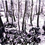 Forêts - Olivier Morel, Forêt nrv 9, acrylique/papier, 25 x 32 cm, 2018