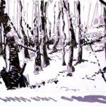 Forêts - Olivier Morel, Forêt nrv 10, acrylique/papier, 25 x 32 cm, 2018