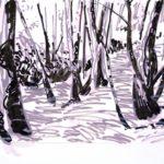 Forêts - Olivier Morel, Forêt nrv 11, acrylique/papier, 25 x 32 cm, 2018
