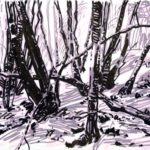 Forêts - Olivier Morel, Forêt nrv 12, acrylique/papier, 25 x 32 cm, 2018