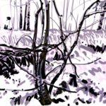 Forêts - Olivier Morel, Forêt nrv 13, acrylique/papier, 25 x 32 cm, 2018