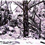 Forêts - Olivier Morel, Forêt nrv 14, acrylique/papier, 25 x 32 cm, 2018