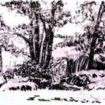 Forêts - Olivier Morel, Forêt nrv 15, acrylique/papier, 25 x 32 cm, 2018