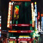 Nocturnes, Olivier Morel, Japon, peinture, Nuit, Shinjuku, Green peas