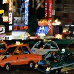 Nocturnes, Olivier Morel, Japon, peinture, Nuit, Shinjuku, taxis 1