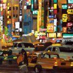 Nocturnes, Olivier Morel, Japon, peinture, Nuit, Shinjuku, taxis 2