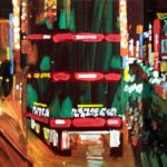 Nocturnes, Olivier Morel, Japon, peinture, Nuit triptyque Shinjuku