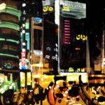 Nocturnes, Olivier Morel, Japon, peinture, Nuit Shinjuku Oioi