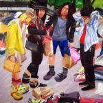 Olivier Morel, Japon, peinture, 4 garçons dans le vent