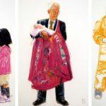 Uniformes, Olivier Morel - Uniforme 17+18+19, Hommage à Fukushima, craies Conté / papier, 120 x 240 cm, 2011