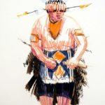 Uniformes, Olivier Morel - Uniforme 28, craies Conté / papier, 120 x 80 cm, 2011
