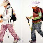 Uniformes, Olivier Morel - Uniformes 34+35+36+37, La longue marche, craies Conté / papier, 120 x 320 cm, 2011