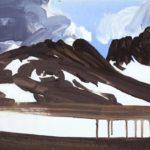 Olivier Morel, terre eau air feu, peinture acrylique Leukerbad