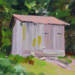 Olivier Morel montagne sixt cabane forêt peinture acrylique